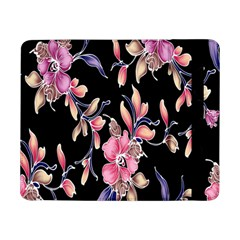 Neon Flowers Black Background Samsung Galaxy Tab Pro 8 4  Flip Case by Simbadda