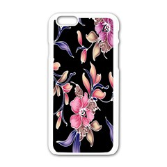 Neon Flowers Black Background Apple Iphone 6/6s White Enamel Case by Simbadda