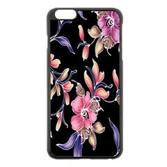 Neon Flowers Black Background Apple Iphone 6 Plus/6s Plus Black Enamel Case by Simbadda