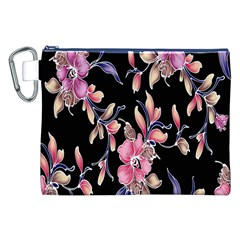 Neon Flowers Black Background Canvas Cosmetic Bag (xxl) by Simbadda