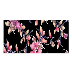 Neon Flowers Black Background Satin Shawl by Simbadda