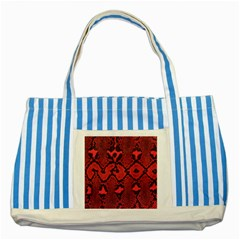 Leather Point Surface Striped Blue Tote Bag by Simbadda