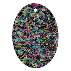 Neon Floral Print Silver Spandex Ornament (oval) by Simbadda