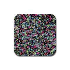 Neon Floral Print Silver Spandex Rubber Square Coaster (4 Pack)  by Simbadda