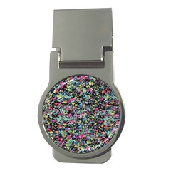 Neon Floral Print Silver Spandex Money Clips (round)  by Simbadda