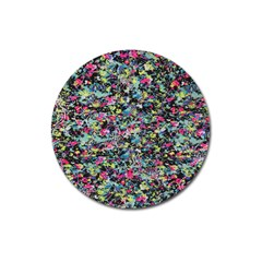 Neon Floral Print Silver Spandex Magnet 3  (round) by Simbadda
