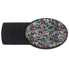 Neon Floral Print Silver Spandex Usb Flash Drive Oval (2 Gb) by Simbadda