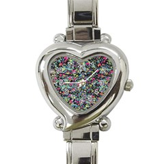 Neon Floral Print Silver Spandex Heart Italian Charm Watch by Simbadda
