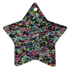 Neon Floral Print Silver Spandex Star Ornament (two Sides) by Simbadda