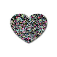 Neon Floral Print Silver Spandex Rubber Coaster (heart)  by Simbadda