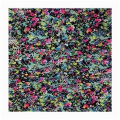 Neon Floral Print Silver Spandex Medium Glasses Cloth by Simbadda