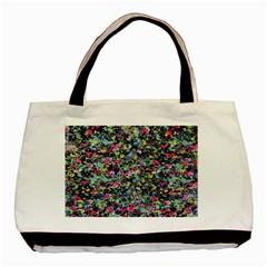 Neon Floral Print Silver Spandex Basic Tote Bag (two Sides) by Simbadda