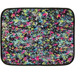 Neon Floral Print Silver Spandex Fleece Blanket (mini) by Simbadda