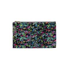 Neon Floral Print Silver Spandex Cosmetic Bag (small)  by Simbadda