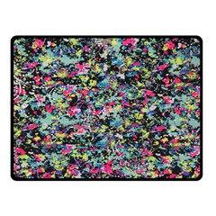 Neon Floral Print Silver Spandex Fleece Blanket (small) by Simbadda