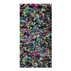 Neon Floral Print Silver Spandex Shower Curtain 36  X 72  (stall)  by Simbadda