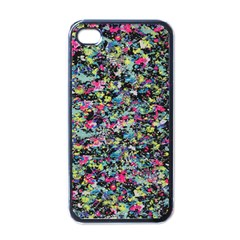 Neon Floral Print Silver Spandex Apple Iphone 4 Case (black) by Simbadda