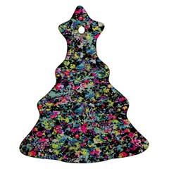 Neon Floral Print Silver Spandex Christmas Tree Ornament (two Sides) by Simbadda