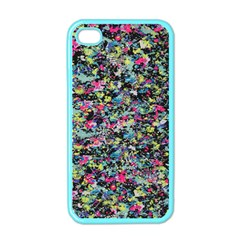 Neon Floral Print Silver Spandex Apple Iphone 4 Case (color) by Simbadda