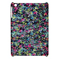 Neon Floral Print Silver Spandex Apple Ipad Mini Hardshell Case by Simbadda