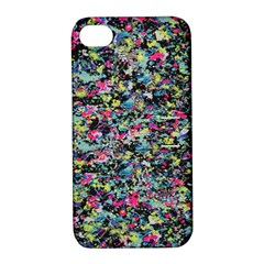 Neon Floral Print Silver Spandex Apple Iphone 4/4s Hardshell Case With Stand by Simbadda