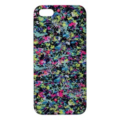 Neon Floral Print Silver Spandex Apple Iphone 5 Premium Hardshell Case by Simbadda