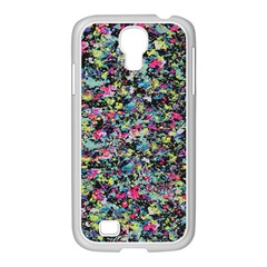 Neon Floral Print Silver Spandex Samsung Galaxy S4 I9500/ I9505 Case (white) by Simbadda