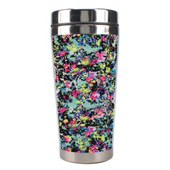 Neon Floral Print Silver Spandex Stainless Steel Travel Tumblers by Simbadda