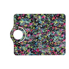 Neon Floral Print Silver Spandex Kindle Fire Hd (2013) Flip 360 Case by Simbadda