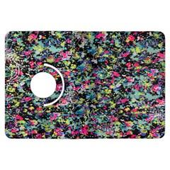 Neon Floral Print Silver Spandex Kindle Fire Hdx Flip 360 Case
