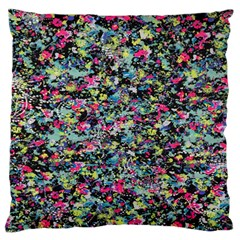 Neon Floral Print Silver Spandex Large Flano Cushion Case (two Sides) by Simbadda