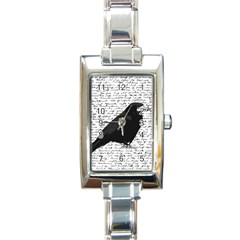 Black Raven  Rectangle Italian Charm Watch by Valentinaart