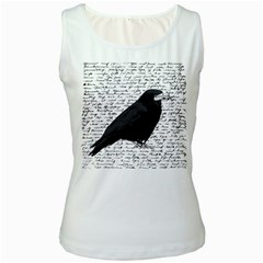 Black Raven  Women s White Tank Top by Valentinaart