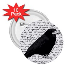 Black Raven  2 25  Buttons (10 Pack)  by Valentinaart
