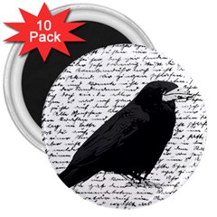 Black Raven  3  Magnets (10 Pack)  by Valentinaart