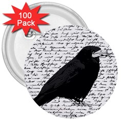 Black Raven  3  Buttons (100 Pack)  by Valentinaart