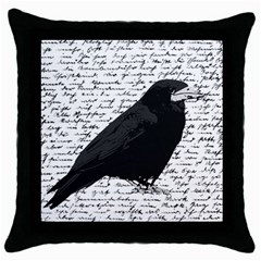 Black Raven  Throw Pillow Case (black) by Valentinaart