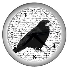 Black Raven  Wall Clocks (silver)  by Valentinaart