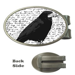 Black Raven  Money Clips (oval)  by Valentinaart