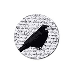 Black Raven  Rubber Round Coaster (4 Pack)  by Valentinaart