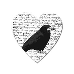 Black Raven  Heart Magnet by Valentinaart