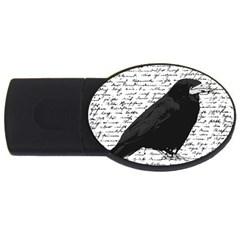 Black Raven  Usb Flash Drive Oval (4 Gb) by Valentinaart
