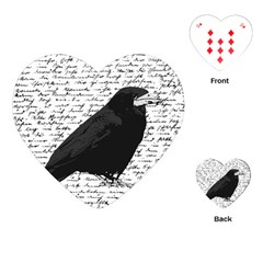 Black Raven  Playing Cards (heart)  by Valentinaart