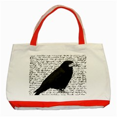 Black Raven  Classic Tote Bag (red) by Valentinaart
