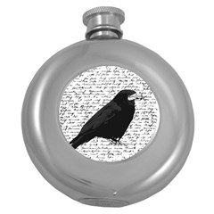 Black Raven  Round Hip Flask (5 Oz) by Valentinaart