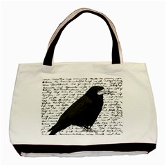 Black Raven  Basic Tote Bag (two Sides) by Valentinaart