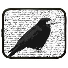 Black Raven  Netbook Case (large) by Valentinaart