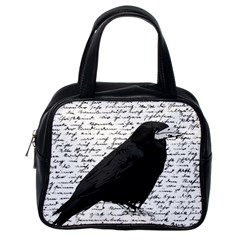 Black Raven  Classic Handbags (one Side) by Valentinaart