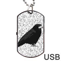 Black Raven  Dog Tag Usb Flash (two Sides) by Valentinaart