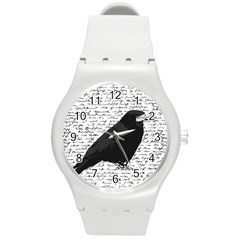 Black Raven  Round Plastic Sport Watch (m) by Valentinaart